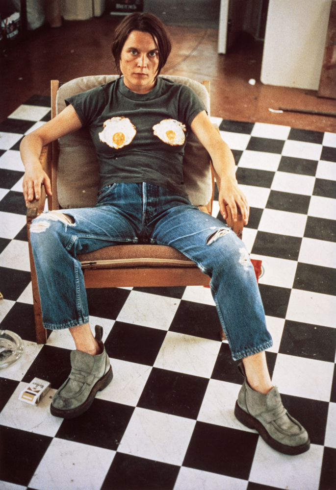 Sarah Lucas Self Portrait with Fried Eggs, 1996 Colour IRIS print: 74.60 x 51.50 cm Scottish National Gallery of Modern Art. Presented by Sadie Coles HQ, 2003. Photography: Antonia Reeve