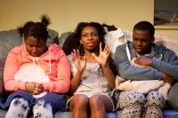 (l-r) Susan Wokoma as Tanika, Michaela Coel as Tiana and Jahvel Hall as Tionne  in THREE BIRDS by Janice Okoh. Photo - Jonathan Keenan.