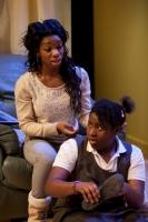 Michaela Coel as Tiana (left) and Susan Wokoma as Tanika  in THREE BIRDS by Janice Okoh. Photo - Jonathan Keenan.