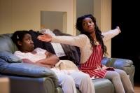 Susan Wokoma as Tanika (left) and Michaela Coel as Tiana  in THREE BIRDS by Janice Okoh. Photo - Jonathan Keenan.