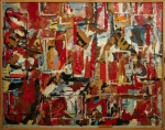 (4) Frame on Frame, 1967.  Oil, enamel, emulsion,collage, on canvas (83 x 105 cm)