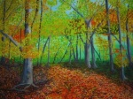 """Arboretum Walk in the Fall 18x24"""", oil on canvas, 2010"""