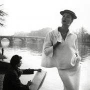 Suzy Parker by the Seine Costume by Balenciaga 1953. Photograph by Louise Dahl Wolfe. Collection Staley Wise Gallery