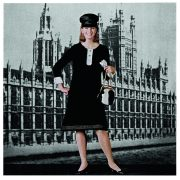 Model wearing Pattern No. 3288, set against the Houses of Parliament