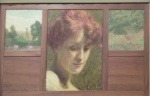 Model between two landscapes, oil on canvas.