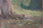 Trunk in Villa Borghese, mixed medium and pastels on bread paper.