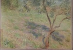 Villa Borghese from the balcony, pastel on cardboard.