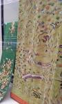Obi sash and kosode with landscape design.