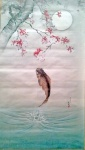 Leaping carp under the cherry tree.