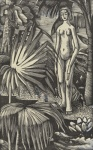 Eric Ravilious, Girl with Palms, illustration for Flower Phatoms, 1926. Towner Eastbourne