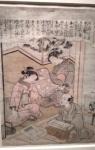 A merchant visiting two women, Katsukawa Shunsho.