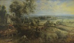 Peter Paul Rubens, An Autumn Landscape with a View of Het Steen in the Early Morning, pre-restoration, probably 1636 © The National Gallery, London.