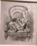 J.Tenniel, Alice in an armchair.